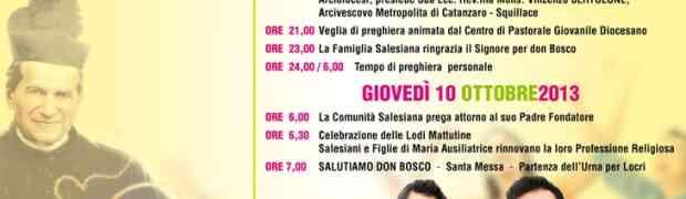 Mercoledì 9 ottobre l'urna di don Bosco a Soverato