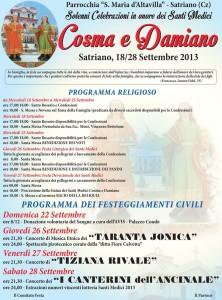 Satriano – Celebrazioni in onore dei Santi Medici Cosma e Damiano
