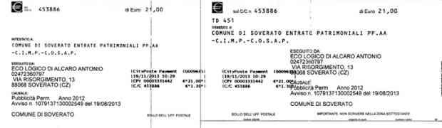 Soverato - Deve al Comune 3 centesimi, gli arriva bollettino di 21 euro!