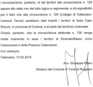 Circoscrizioni Elettorali – Il sindaco di Torre di Ruggiero scrive al Ministero degli Interni