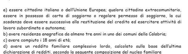 Regione Calabria - Bando credito sociale per famiglie bisognose