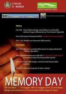 Borgia commemora il 22° anniversario della strage di Capaci