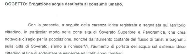Soverato - Carenza idrica, il Comune scrive alla Sorical