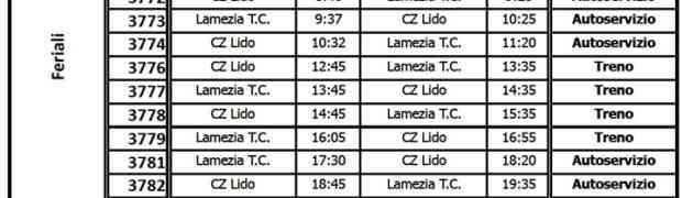Associazione Ferrovie in Calabria: Gli orari della linea Catanzaro Lido - Lamezia Terme Centrale