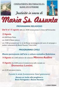 Badolato – Festeggiamenti in onore di Maria Ss. Assunta