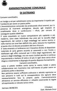 Rifiuti – Appello del Sindaco di Satriano, Michele Drosi