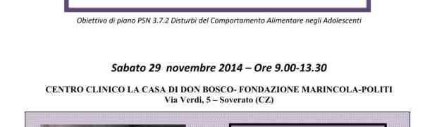 Soverato - Sabato 29 Novembre convegno sui Disturbi del Comportamento Alimentare (DCA)