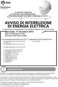 Avviso Enel di Interruzione Energia Elettrica a Isca sullo Ionio