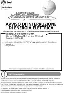 Avviso Enel di Interruzione Energia Elettrica a Satriano