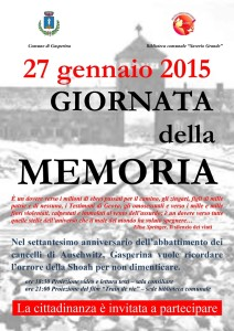 """Gasperina – Martedì 27 Gennaio si celebra la """"Giornata della Memoria"""""""