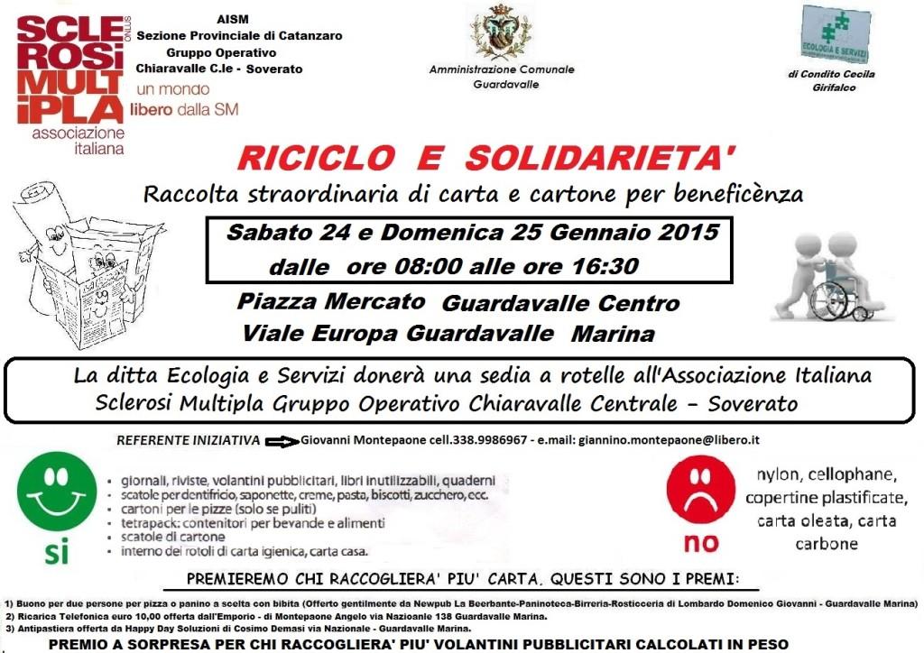 Locandina raccolta carta 24 e 25 gennaio 2015.