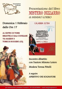 """Torre di Ruggiero – Presentazione del libro """"Mistero bizzarro"""" di Mimmo Loiero"""