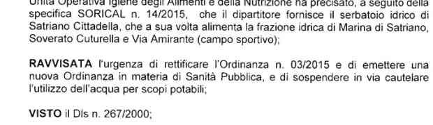 Soverato – Vietato l'uso dell'acqua a scopi potabili anche in Via Amirante e Cuturella