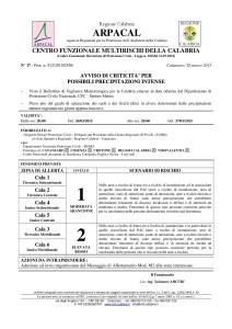 Allerta Meteo per precipitazioni intense, criticità rossa in Calabria