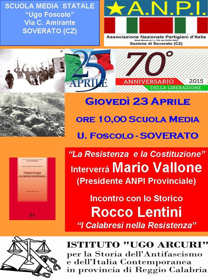 Locandina 23 Aprile  2015 Soverato Scuola Media u.foscolo