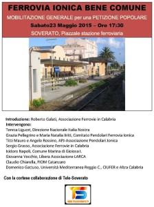 Sabato 23 Maggio mobilitazione per la Ferrovia Jonica a Soverato
