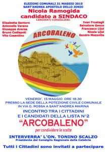 """Sant'Andrea – Venerdì 15 Maggio la presentazione della lista """"Arcolbaleno"""""""
