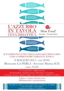"""Venerdì 8 maggio a Soverato """"L'Azzurro in Tavola"""""""