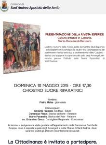 S. Andrea Jonio – Domenica 10 Maggio presentazione della rivista Esperide