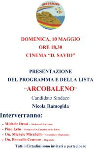 """S. Andrea Jonio – Domenica 10 Maggio presentazione della lista """"Arcobaleno"""""""
