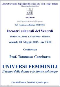 """Soverato – Conferenza del Prof. Tommaso Cozzitorto """"Universi femminili"""""""