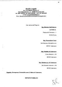 Esposto emergenza criminalità zona S. Maria a Catanzaro