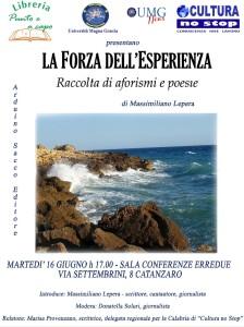"""Martedì 16 Giugno a Catanzaro la presentazione del libro """"La forza dell'esperienza"""""""