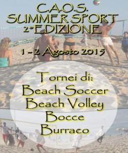 """Soverato – L'1 e il 2 Agosto """"C.A.O.S. Summer Sport – 2° Edizione"""""""