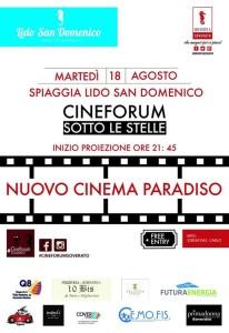 """Martedì 18 Agosto """"Cineforum sotto le stelle"""" al Lido San Domenico di Soverato"""