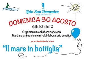 """Soverato – Domenica 30 agosto """"Il mare in bottiglia"""" al Lido San Domenico"""