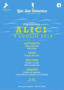 Soverato – Venerdì 6 Luglio degustazione di Alici al Lido San Domenico