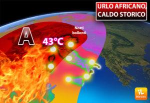Meteo: Urlo africano, caldo storico a 43°C con notti bollenti. Ecco quando il picco