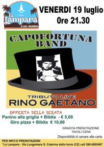 Venerdì 19 Luglio a Santa Caterina Jonio il concerto dei Capofortuna Band – Tributo Live Rino Gaetano