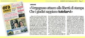 Libertà di Stampa, solidarietà a L'Ora della Calabria