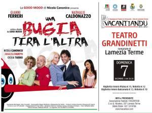 """Lamezia Terme – Domenica 7 dicembre al Teatro Grandinetti """"Una bugia tira l'altra"""""""
