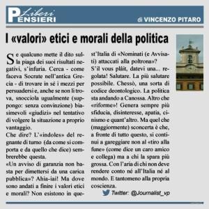 """I """"valori"""" etici e morali della politica"""