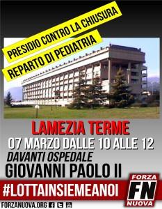 Lamezia Terme, presidio contro la chiusura del reparto di Pediatria