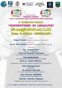 """Scigliano – Lunedì 25 Maggio la 9° Edizione """"Costruttori di legalità"""""""