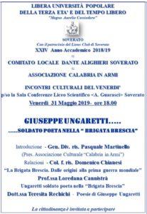 """Soverato – Venerdì 31 Maggio la conferenza """"Giuseppe Ungaretti … Soldato poeta nella """"Brigata Brescia"""""""""""